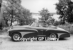The Abbott bodied Ferrrai Barchetta shown by Frensham Ponds. Copyright Grand Prix Library