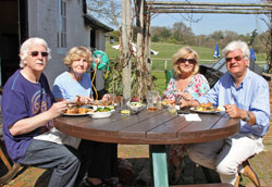 Tony Bailey, Dorrie Mahoney and Nigel Webb plus companion Dee enjoying lunch