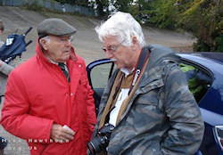 Murray Walker chats to Author Tony Bailey while filming at Brooklands